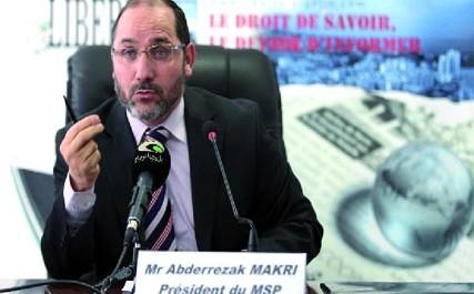 """Abderrazek Makri, Président du MSP, au forum de """"Liberté"""" """"Je n'ai jamais eu aussi peur pour mon pays"""""""