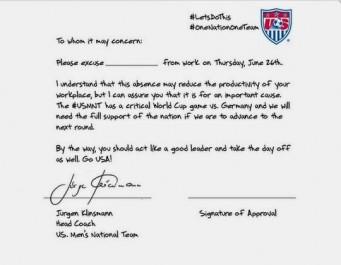 USA : La lettre d'excuse officielle de Kilnsmann