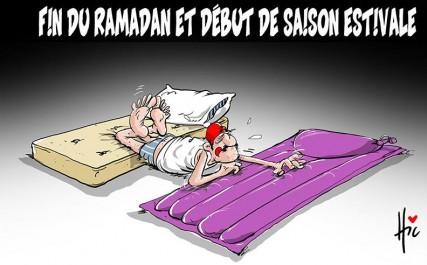 Caricature «Le Hic» : changement de rythme pour les algériens avec la fin du Ramadhan et le début de l'été
