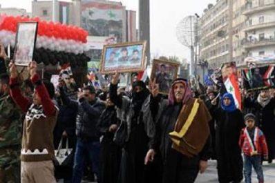 ALEP (SYRIE) La population célèbre la fin de Daesh