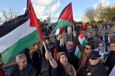 Rassemblement de solidarité avec le peuple palestinien à la coupole du complexe sportif Mohamed Boudiaf