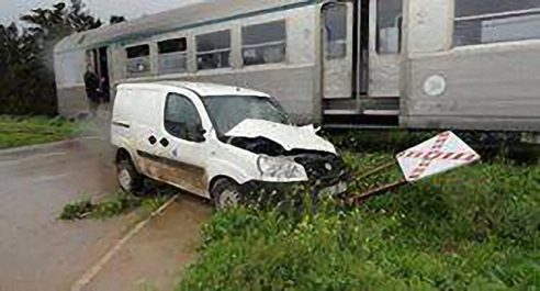 Mostaganem : Un véhicule avec une famille à bord percuté par un train