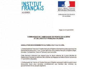 Sur décision de l'ambassade de France en Algérie : Les activités culturelles des IFA annulées