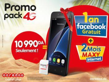Nouvelle offre promotionnelle 4G dans les 48 wilayas/Promo «Pack 4G» de Ooredoo: Un Smartphone 4G avec accès gratuit à Facebook pendant 1 année, deux recharges MAXY et des avantages Voix et Internet inédits