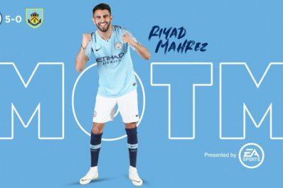 Manchester City – Burnley: Mahrez élu homme du match !