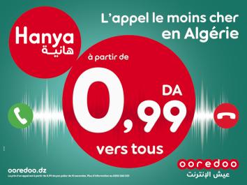 Nouvelle offre prépayée de Ooredoo  :  Avec « Hanya » … profitez de la tarification la moins chère du marché à moins de 1 DA