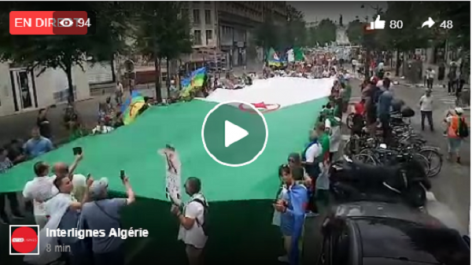 En direct : Marche grandiose des algériens de France à Paris.