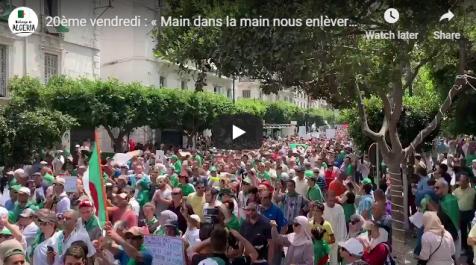 Une foule de manifestants dans les rues d'Alger pour le 20e vendredi !