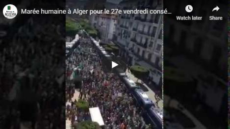 Marée humaine à Alger pour le 27e vendredi consécutif